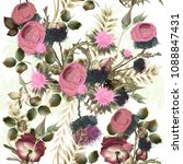 botanical floral pattern with... | Shutterstock .eps vector #1088847431