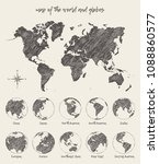sketches of map of the world... | Shutterstock .eps vector #1088860577