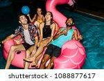multiracial group of friends... | Shutterstock . vector #1088877617