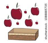 apple and wicker box vector... | Shutterstock .eps vector #1088885735