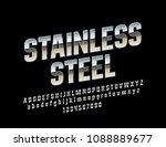 vector stainless steel alphabet ... | Shutterstock .eps vector #1088889677