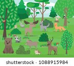 cute forest animals and forest... | Shutterstock .eps vector #1088915984