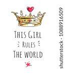 girly slogan with crown cartoon ... | Shutterstock .eps vector #1088916509