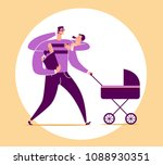 man with four arms carries baby ... | Shutterstock .eps vector #1088930351
