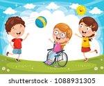 vector illustration of disabled ... | Shutterstock .eps vector #1088931305