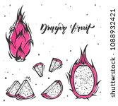 set of slices of dragon fruit... | Shutterstock .eps vector #1088932421