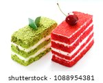 piece of delicious cake with... | Shutterstock . vector #1088954381