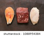 raw meat  fish and chicken... | Shutterstock . vector #1088954384
