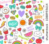 cute doodle elements seamless... | Shutterstock .eps vector #1088955614