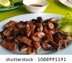 delicious pork casing grill... | Shutterstock . vector #1088991191
