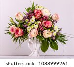 bouquet of fresh pink spring...   Shutterstock . vector #1088999261