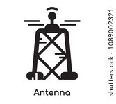 antenna icon isolated on white... | Shutterstock .eps vector #1089002321