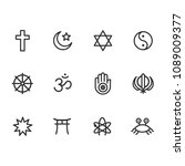 icon set of religion symbols.... | Shutterstock . vector #1089009377
