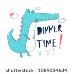 hungry crocodile vector... | Shutterstock .eps vector #1089034634