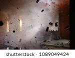 explosion inside the building - stock photo