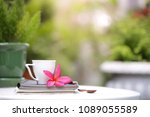 white cup with frangipani... | Shutterstock . vector #1089055589