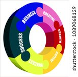 colorful business words wheel | Shutterstock .eps vector #1089068129