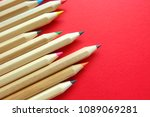 pencil on red background. | Shutterstock . vector #1089069281