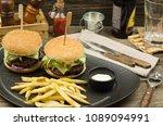 delicious homemade hamburger... | Shutterstock . vector #1089094991