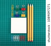paper clips  pencils and note... | Shutterstock . vector #1089097271