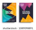 electronic music poster. modern ... | Shutterstock .eps vector #1089098891
