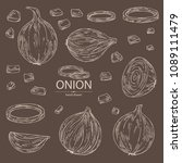 collection of with onion  rings ... | Shutterstock .eps vector #1089111479