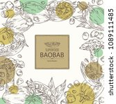 background with baobab  baobab... | Shutterstock .eps vector #1089111485