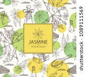 background with jasmine flower... | Shutterstock .eps vector #1089111569