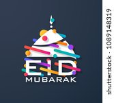 eid mubarak greeting card with... | Shutterstock .eps vector #1089148319