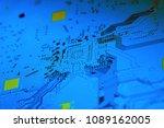 electronic circuit board close... | Shutterstock . vector #1089162005