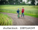 two kids traveling together... | Shutterstock . vector #1089164249