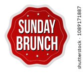 sunday brunch label or sticker... | Shutterstock .eps vector #1089171887