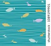 ocean waves pattern. navy ocean ... | Shutterstock .eps vector #1089199901