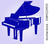 silhouette of a grand piano...   Shutterstock .eps vector #1089223925