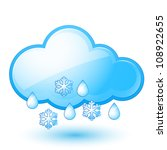 Single weather icon - Cloud with Snow and Rain - stock vector