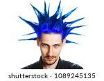 a man with a mohawk and beard ... | Shutterstock . vector #1089245135