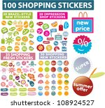 100 shopping stickers  labels ... | Shutterstock .eps vector #108924527