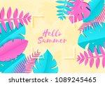 summer tropical palm leaves ... | Shutterstock .eps vector #1089245465