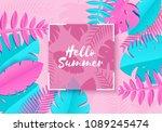 summer tropical palm leaves ... | Shutterstock .eps vector #1089245474