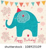 holiday card with elephant | Shutterstock .eps vector #108925109