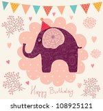holiday card with elephant | Shutterstock .eps vector #108925121