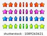 cartoon set of colored stars ...