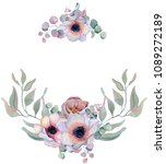 watercolor wreath frame with...   Shutterstock . vector #1089272189
