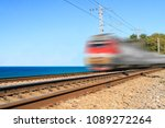 passenger train goes along the... | Shutterstock . vector #1089272264
