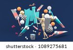 wooden puppet painting amidst... | Shutterstock . vector #1089275681
