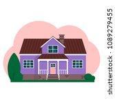 vector flat suburban american... | Shutterstock .eps vector #1089279455