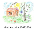 small cute house and spring... | Shutterstock . vector #10892806