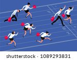 business competition. cartoon... | Shutterstock .eps vector #1089293831