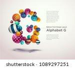 alphabet ball font design... | Shutterstock .eps vector #1089297251