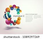 alphabet ball font design... | Shutterstock .eps vector #1089297269